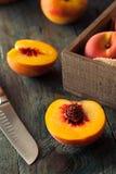 Raw Organic Yellow Peaches Stock Photo