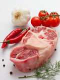 Raw oxtail with ingredients Stock Photos