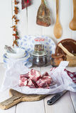 Raw oxtail on the table of the kitchen Stock Photography