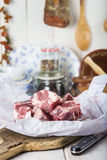 Raw oxtail on the table of the kitchen Royalty Free Stock Image