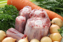 Raw oxtail and vegetables Royalty Free Stock Images