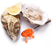 Raw oyster,lemon and red caviar on a whte background. Royalty Free Stock Photography