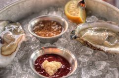 Raw Oysters on Ice with Sauces and Lemon. Raw Oysters on Ice with garlic Sauces and Lemon juice Stock Photo