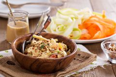 Raw pad thai salad. With vegetable pasta Stock Image