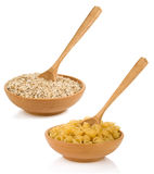 Raw Pasta And Oat Cereals In Plate Royalty Free Stock Photography