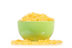 Raw pasta in bowl Stock Image