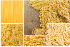 Raw Pasta Collage Stock Photography