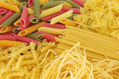 Raw pasta composition. Many types of pasta composition Royalty Free Stock Images