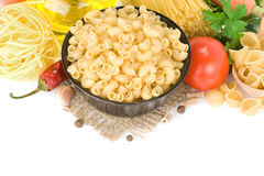 Raw pasta and healthy food Royalty Free Stock Photos