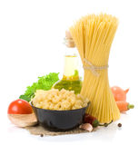 Raw pasta and healthy food Stock Photos