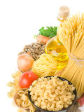 Raw pasta and healthy food Royalty Free Stock Photo