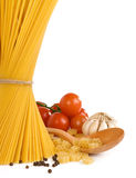 Raw pasta and healthy food isolated on white Stock Photo