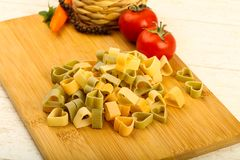 Raw pasta hearts hape. Ready for cooking Royalty Free Stock Photography