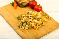Raw pasta hearts hape. Ready for cooking Stock Photos