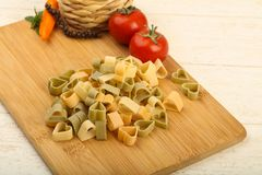 Raw pasta hearts hape. Ready for cooking Royalty Free Stock Image