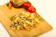 Raw pasta hearts hape. Ready for cooking Stock Images