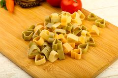 Raw pasta hearts hape. Ready for cooking Royalty Free Stock Images