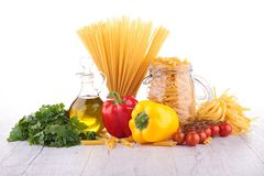 Raw pasta and ingredients Stock Photography
