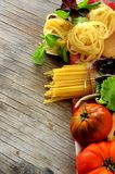 Raw pasta italian culinary art Stock Images