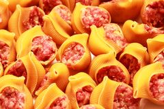 Raw pasta with minced meat closeup. Raw pasta with minced meat and onions Stock Photography