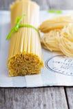 Raw pasta on a napkin Royalty Free Stock Photo