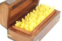 Raw Pasta , Penne. In a box on White Back Ground Royalty Free Stock Image