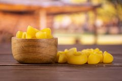 Raw pasta pipe rigate with cart royalty free stock image