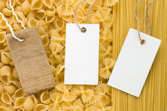 Raw pasta and price tag Stock Image