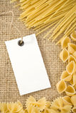 Raw pasta on sack burlap Royalty Free Stock Photography