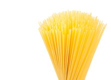 Raw pasta spaghetti isolated on white background with space for text Stock Photo