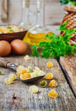 Raw pasta in a spoon Stock Images