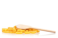 Raw pasta and spoon Stock Photo