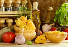 Raw pasta with vegetables Royalty Free Stock Photos