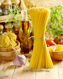 Raw pasta with vegetables Stock Photos