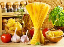 Raw pasta with vegetables Royalty Free Stock Photography