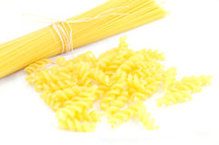 Raw pasta on white background Royalty Free Stock Photography