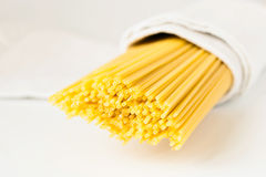 Raw pasta in a white towel Royalty Free Stock Photos