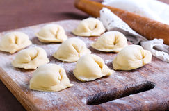Raw pastry dumplings Royalty Free Stock Image