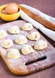 Raw pastry dumplings Royalty Free Stock Images