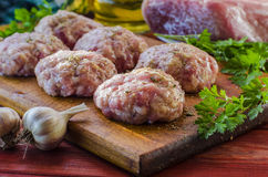 Raw patties from ground beef Royalty Free Stock Images