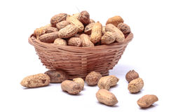 Raw peanuts. With bright white backgrounds Stock Image