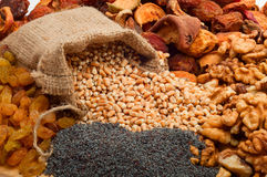 Raw pearl barley in a canvas bag with dried fruit, raisins, nuts Royalty Free Stock Image