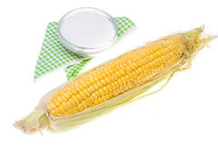 Raw peeled corn cob Royalty Free Stock Images