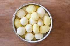Raw peeled potatoes in a circular bowl on an old rustic wooden table closeup Stock Photos