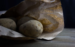 Raw and Peeled Potatoes Stock Photo