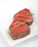 Raw pepper steak Royalty Free Stock Photo