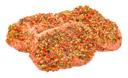 Raw Peppered Beef Grill Steaks Stock Photography