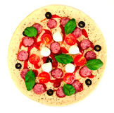 Raw Pepperoni Pizza with Sausage, Cheese, Mozzarella, Olives and Royalty Free Stock Images