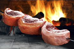 Raw Picanha on a skewer Royalty Free Stock Images