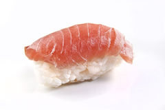 Raw piece of Nigiri sushi with rice and salmon royalty free stock images